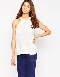 Brave Soul High Neck Ribbed Top White