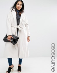 Asos Curve Midi Swing Trapeze Coat With Belt Tie Oyster Beige