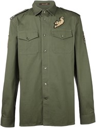 Roberto Cavalli Embellished Military Shirt Green