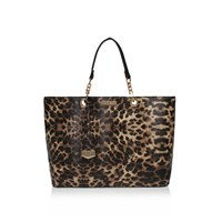 Carvela Hera Leopard Shoulder Strap Tote Bag Brown