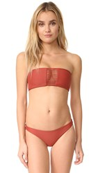Mikoh Sunset Triple Loop Bandeau Bikini Top Rust