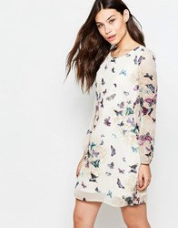 Yumi Long Sleeve Shift Dress In Garden Butterfly Print Cream