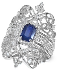 Effy Collection Royal Bleu By Effy Sapphire 1 Ct. T.W. And Diamond 3 4 Ct. T.W. Ring In 14K White Gold