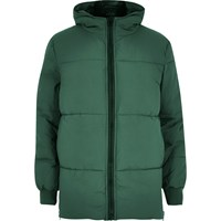 River Island Mens Green Quilted Puffer Winter Coat