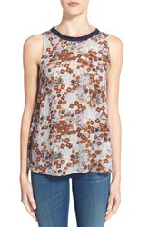 Women's Hinge Floral Print Tank Grey Sconce African Stamp