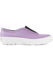 Hunter Rubber Slip On Shoes Pink And Purple