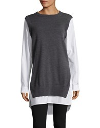 Dkny Mock Layered Long Sleeved Tunic Charcoal Heather