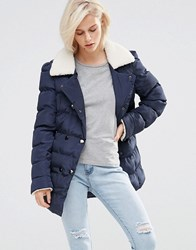 Girls On Film Padded Coat With Faux Shearling Navy