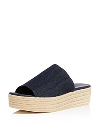 Vince Solana Platform Slide Sandals Dark Denim