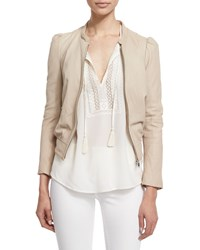 Joie Oshie Soft Leather Cropped Jacket Size Xx Small Ivory