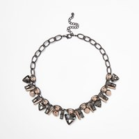 River Island Womens Gunmetal Tone Layered Jewel Necklace