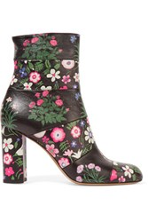 Valentino Paneled Floral Print Leather Ankle Boots Multi