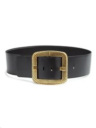 Saint Laurent Wide Leather Belt Black