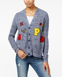 One Hart Juniors' Marled Patch Cardigan Only At Macy's Blue