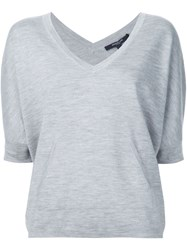 Derek Lam Knitted V Neck T Shirt Grey