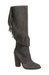 Cynthia Vincent 'Navy' Fringe Tall Boot Women Smoke