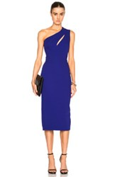 Victoria Beckham Matte Crepe On Shoulder Fitted Cut Out Dress In Blue