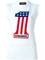 Dsquared2 Number One Print Tank Top White