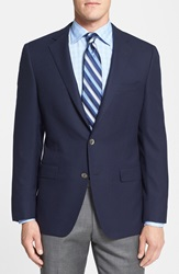 Samuelsohn Classic Fit Wool Travel Blazer Navy