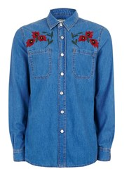 Topman Blue Denim Embroidered Rose Casual Shirt Pink