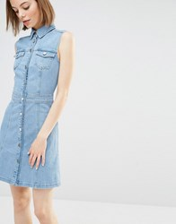 Warehouse Sleeveless Denim Dress Light Wash Blue