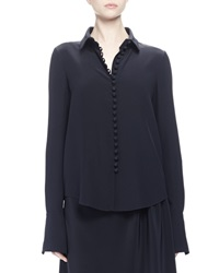 Chloe Long Sleeve Button Front Blouse Navy
