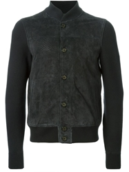 Emporio Armani Perforated Detail Bomber Jacket Blue