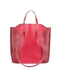 Foley Corinna Clio Laser Cut Leather Tote Bag Rose