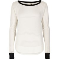 River Island Womens White Sheer Pointelle Knit Top