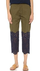 Sea Lace Combo Cargo Pants Green Navy Multi