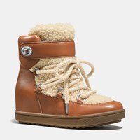 Coach Monroe Shearling Bootie Saddle Natural