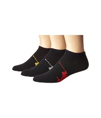 Polo Ralph Lauren 3 Pack Big Player On Sole Low Cut Black Black Red Black Gold Black Sweatshirt Grey Heather Men's Low Cut Socks Shoes