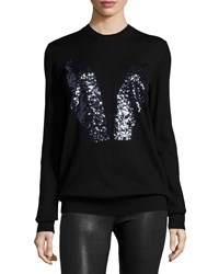 Mcq By Alexander Mcqueen Sequined Bunny Crewneck Sweater Black