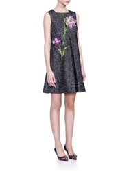 Dolce And Gabbana Tweed Embroidered A Line Dress Grey