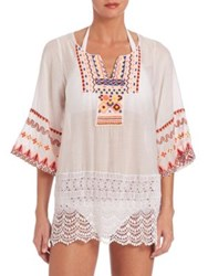 Pia Pauro Lace Detail Embroidered Cotton And Silk Tunic White
