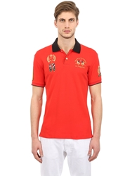 La Martina Stretch Cotton Pique Royal Polo Shirt Red