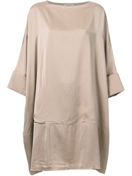 Theatre Products Draped Wide Neck Dress Brown