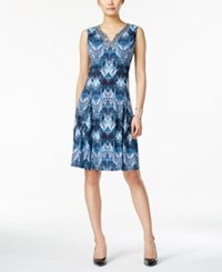 Jm Collection Sleeveless Printed Dress Only At Macy's Blue Chevron