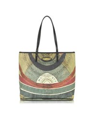 Gattinoni Planetarium Coated Canvas And Leather Medium Tote W Zip Tote Multicolor