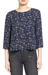 Cupcakes And Cashmere Women's 'Nadetta' Floral Print Blouse Blue Floral