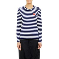 Comme Des Garcons Play Women's Striped Long Sleeve T Shirt Navy White No Color Navy White No Color