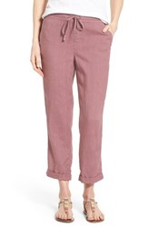Women's Caslon Linen Tie Front Crop Pants Purple Shake