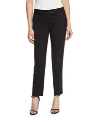 Milly Tapered Gabardine Ankle Pants Black