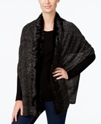 Inc International Concepts Faux Fur Trim Scarf Only At Macy's Black