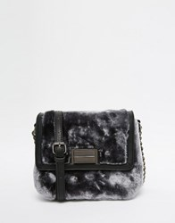 French Connection Faux Fur Cross Body Bag Grey