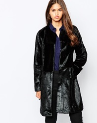 Urbancode Faux Fur Coat With Tonal Patchwork Black