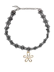 Cara Floral Pendant Choker Necklace Black