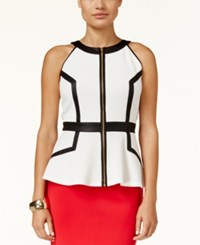 Thalia Sodi Faux Leather Trim Peplum Top Only At Macy's Cloud
