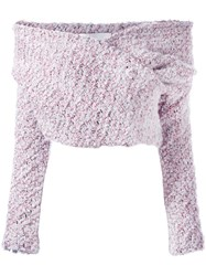 Daizy Shely Off The Shoulder Jumper Pink Purple