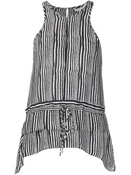 Derek Lam 10 Crosby Striped Peplum Blouse Black